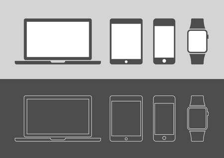 tech support: Display Devices Icons Illustration