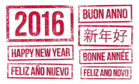 january 1st: Happy New Year and 2016 in stamps ink