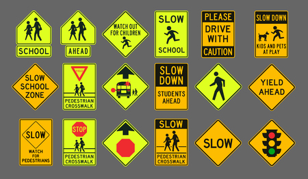 fluorescent lights: Pedestrians road signs