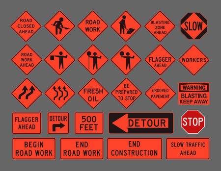 Workers road signs Stock Vector - 49596513