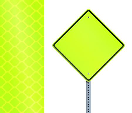 Yellow fluorescent road sign Stock Illustratie