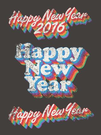 used: Happy New Year vintage used Illustration