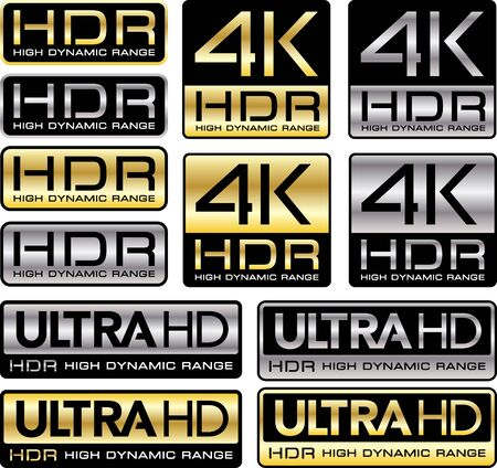 Ultra HD logos with HDR mention Illustration