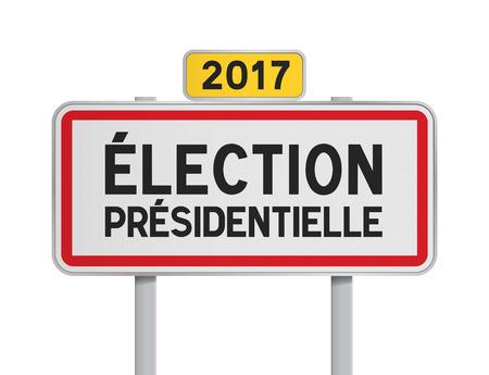 presidential: French roadsign Election Presidential 2017 Illustration
