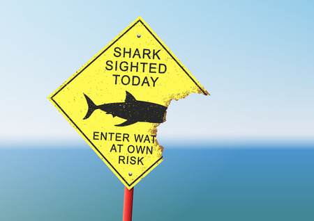 attention: Shark attack panel Illustration