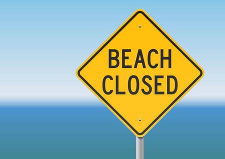 beach closed: Beach Closed sign