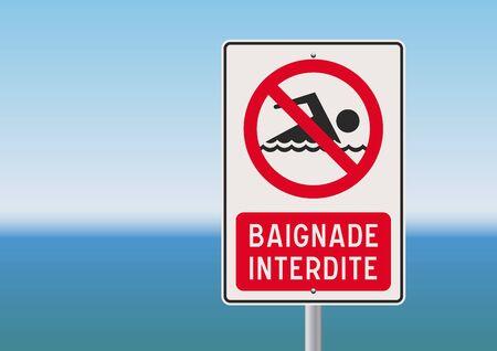 no swimming: No swimming French sign