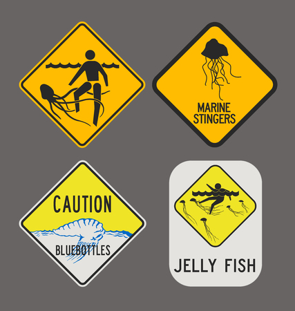 dangerous man: Jellyfish caution signs