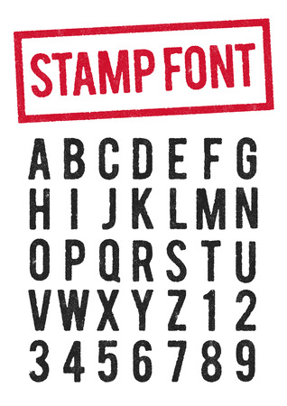 Stamp typeface Stock Illustratie