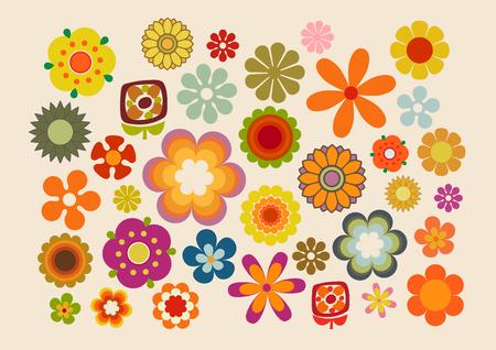 ビンテージ花の一部。  イラスト・ベクター素材