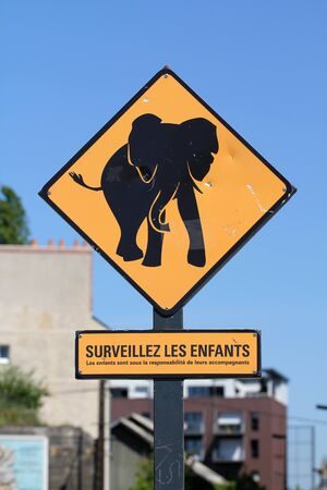 pachyderm: Elephant roadsign in Nantes (France) Editorial
