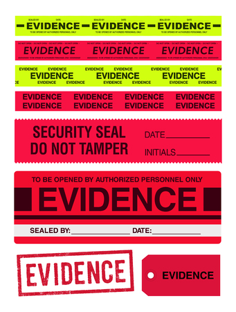 criminal case: Evidence tapes, stamp, stickers and label Illustration