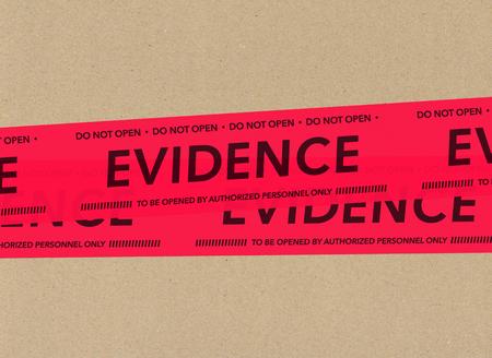 evidence: Evidence tape on cardboard