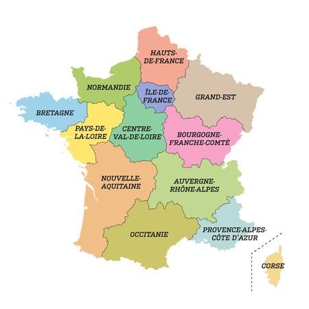 France metropolitan map with new regions Illustration