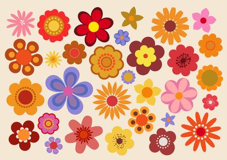 60s Fleurs Vintage / 70 Banque d'images - 64605368