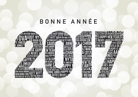 greetings from: Bonne Annee 2017 in different languages all over the world (Bonne Annee is Happy new year in French)
