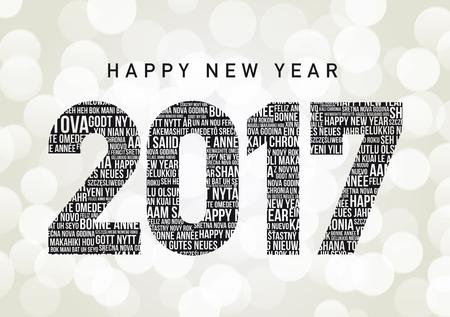 languages: Feliz Año Nuevo 2017 en diferentes idiomas Vectores