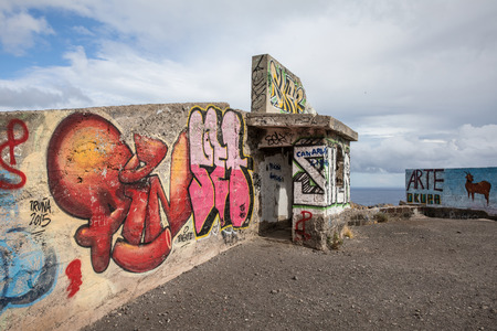 abandon: Graffiti at the viewpoint of Las Teresitas (Tenerife - Spain)