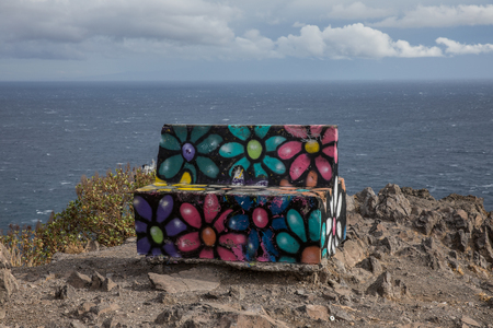 abandon: Bench at the viewpoint of Las Teresitas (Tenerife - Spain) Editorial
