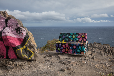 street art: Bench at the viewpoint of Las Teresitas (Tenerife - Spain) Editorial