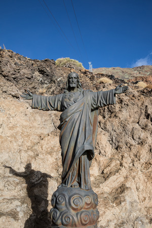 tramway: Jesus Christ statue at the base of the Teide aerial tramway (Tenerife - Spain)