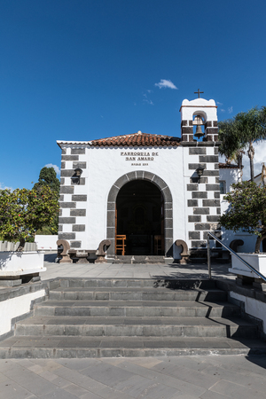 building exteriors: Parish San Amaro in Puerto de la Cruz, Tenerife, Spain Stock Photo