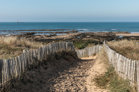 Path in the dunes towards the beach of la Paracou (Les Sables dOlonne)