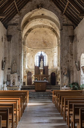 Inside of the Church Saint-Nicolas in Brem-Sur-Mer (Vendee, France) Editorial