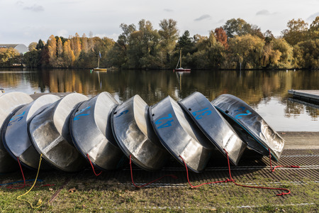 numero: Optimist aluminum hulls in the Erdre river (Nantes, France)