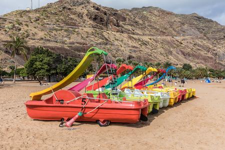 Pedalo with playground slide on the beach of Las Teresitas (Tenerife, Spain)