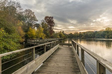 footbridges: Footbridge on the Erdre river in autumn (Nantes, France)