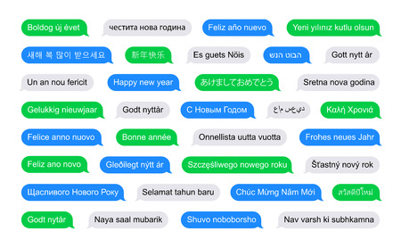 short message service: Happy new year in different languages on SMS bubbles