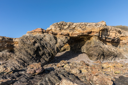 cutting: Ark rock formation (Pointe du Payre, France) Stock Photo