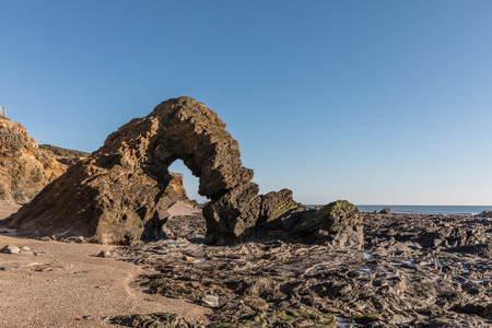 natural formation: Ark rock formation (Pointe du Payre, France) Stock Photo