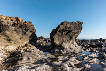 vendee: Rock formation at the Pointe du Payre (Vendee, France) Stock Photo