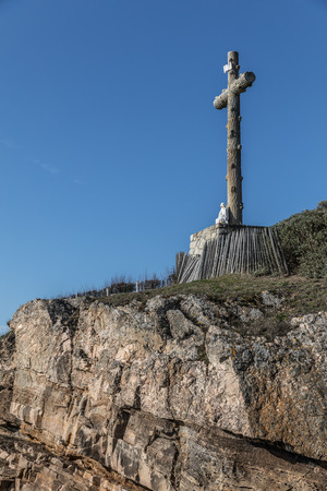 europe: Great cross facing the sea in Les Sables dOlonne, France