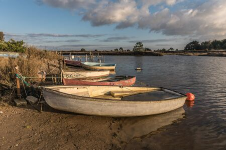 river: Boats on Auzance river (Brem-sur-mer, France) Stock Photo