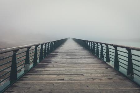Fog on the jetty bridge of la Chaume (Les Sables dOlonne, France)