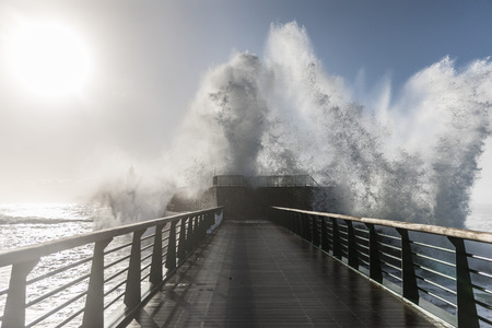 wave: Backwash on the great jetty of la Chaume (Les Sables dOlonne, France)