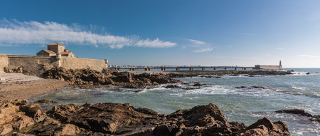Panorama view of la Chaume jetty (Les Sables dOlonne, France) Stock Photo