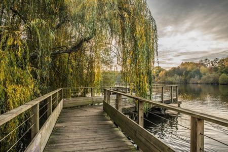 Wood footbridge on the Erdre river in autumn (Nantes, Loire Atlantique)