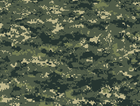 Dark green pixels camouflage Illustration