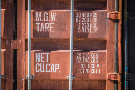 Red container with weights and dimensions indications