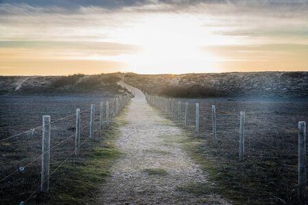 post: Sandy path in the dunes of la Gachere (Bretignolles-sur-mer, France) Stock Photo