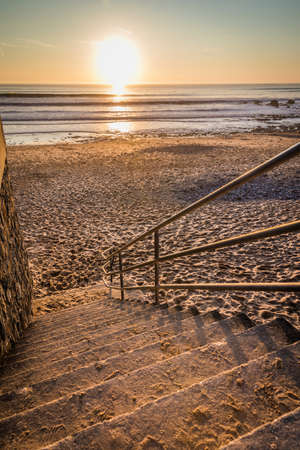 Stairs to the beach for the sunset (Les Sables dOlonne, France) Stock Photo