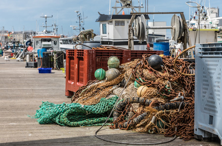 industry: Fishing materials on the harbor pontoon