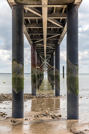 europe: Under the jetty of La Tranche-sur-Mer at low tide