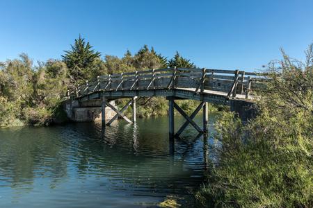 Wooden bridge in the Olonne swamp Stock Photo