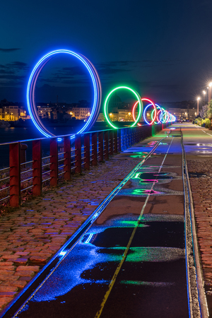 europe: The luminous rings on the Nantes island Stock Photo