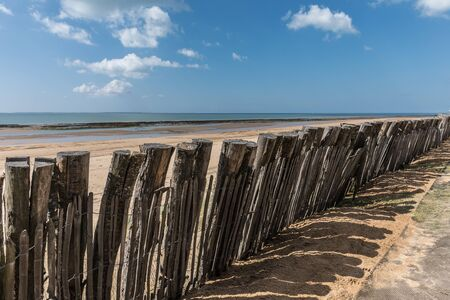 Protection on the Generelles beach in La Tranche-sur-Mer (Vendee, France) Stock Photo
